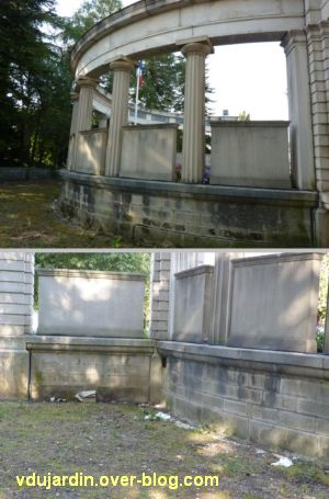 Lons-le-Saunier, monument aux morts de 1914-1918, deux vues de l'arrière