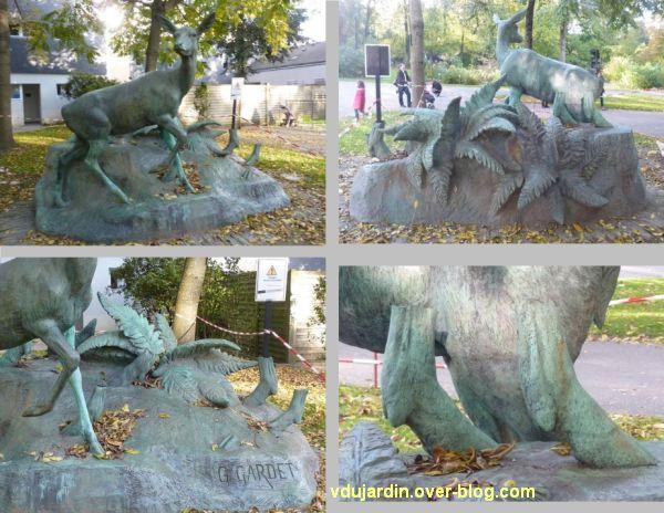 Nantes, cerf et biche du jardin des plantes, quatre vues après démontage de l'oeuvre contemporaine