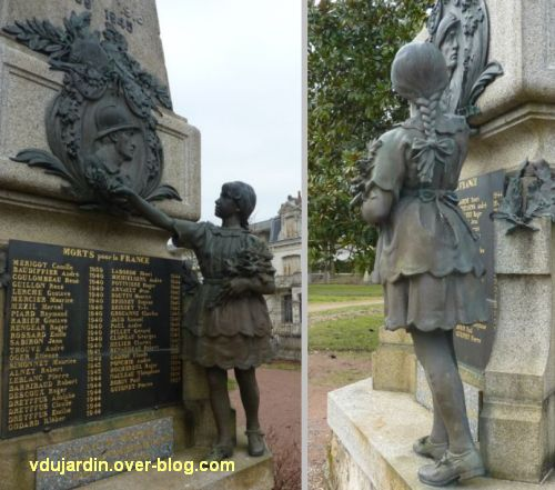 Parthenay, le monument aux morts de 1914-1918, 4, la fillette de face et de dos