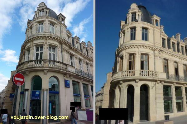 Poitiers, banque populaire, 3, l'angle avant et après restauration