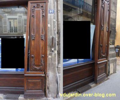 Poitiers, fin mai 2012, 5, deux détails de la pharmacie Carnot avec façade défoncée