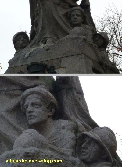 Les Sables-d'Olonne, monument aux morts de 1914-1918, 4, têtes de soldat au pied du monument