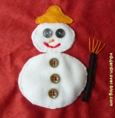 Un bonhomme de neige en appliqué