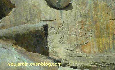 Gambetta par Falguières à Cahors, 2, la signature de Falguière
