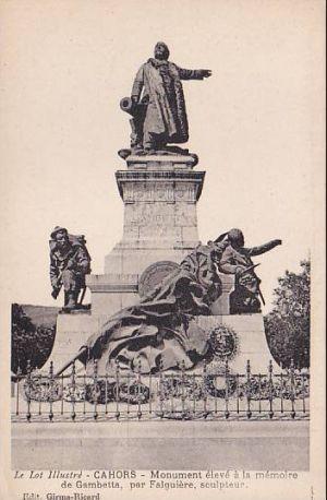 Gambetta par Falguières à Cahors, 3, carte ancienne avec les soldats sur le socle