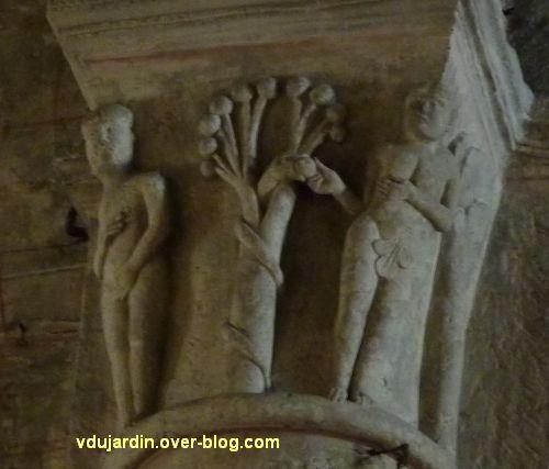Chauvigny, chapiteaux romans de l'église Notre-Dame, 1, la Tentation d'Adam et Eve