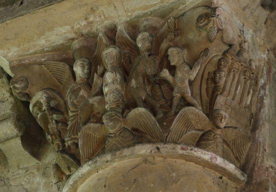 Poitiers, église Saint-Hilaire, chapiteau de la fuite en Egypte, 2, fuite en Egypte
