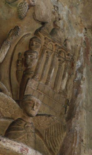 Poitiers, église Saint-Hilaire, chapiteau de la fuite en Egypte, 3, église