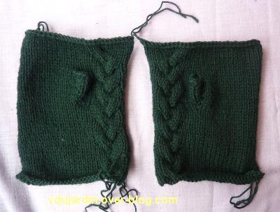 Des mitaines vertes, tricot fini