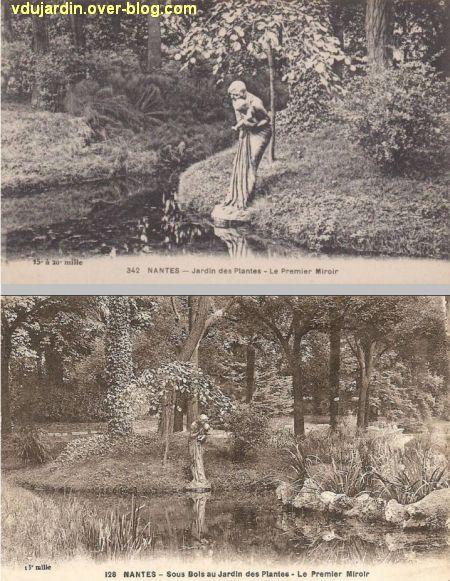 Nantes, le premier miroir de Alaphilippe au jardin des plantes, 2, deux vues anciennes