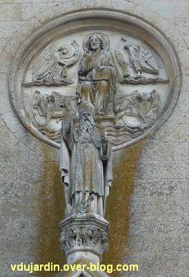 Niort, église Saint-Hilaire, 02, le Christ, le Tétramorphe et saint Hilaire sur la façade