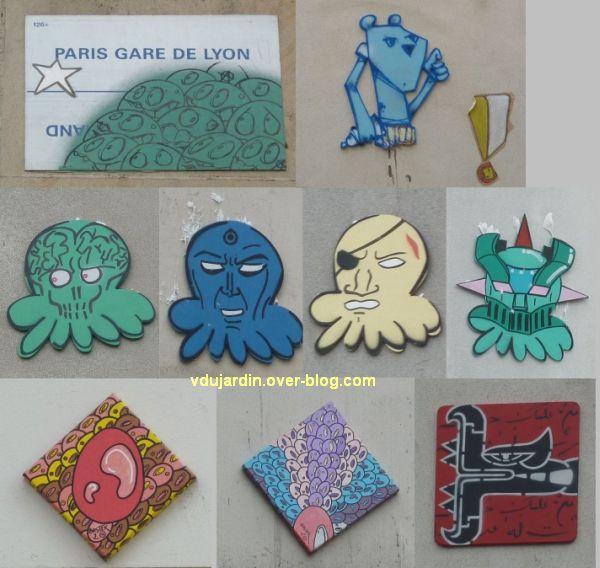 Art dans la rue au nord-est de Paris, 2, plaques collées