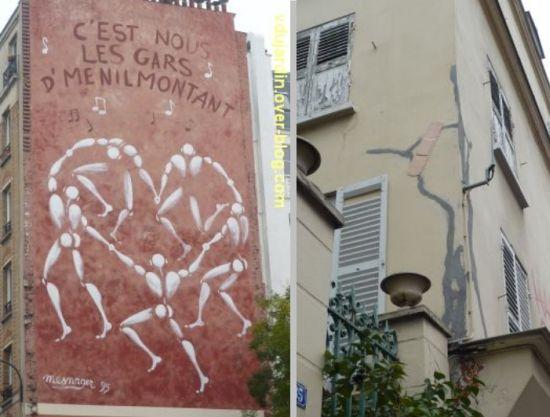 Art dans la rue au nord-est de Paris, 4, mur peint et sparadrap géant