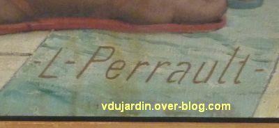 Poitiers, salle des mariages de l'hôtel de ville, 6, signature Perrault sur la cheminée