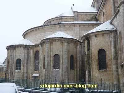 Poitiers sous la neige, 20 janvier 2013, 1, chevet de Saint-Hilaire