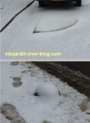 Poitiers sous la neige, 20 janvier 2013, plots casse-gueule