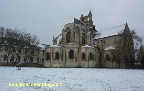 Poitiers sous la neige, 20 janvier 2013, 5, le chevet de Saint-Jean-de-Montierneuf