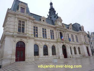 Poitiers, façade de l'hôtel de ville pleine d'algues vertes, 4 janvier 2013