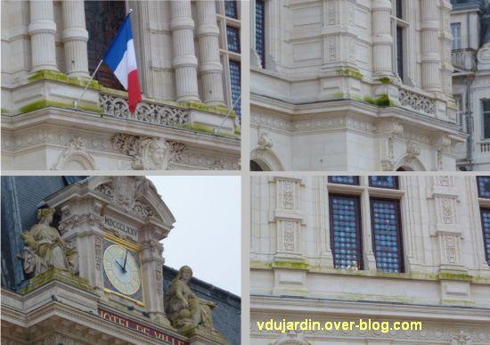 Poitiers, façade de l'hôtel de ville pleine d'algues vertes, 4 janvier 2013, quatre détails