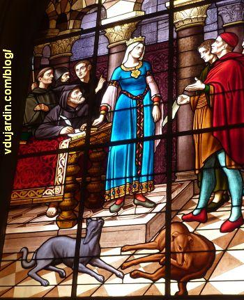 Poitiers, hôtel de ville, Aliénor remet la charte de la ville aux échevins, 2, vue rapprochée