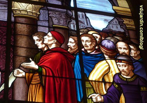 Poitiers, hôtel de ville, Aliénor remet la charte de la ville aux échevins, 5, têtes des échevins