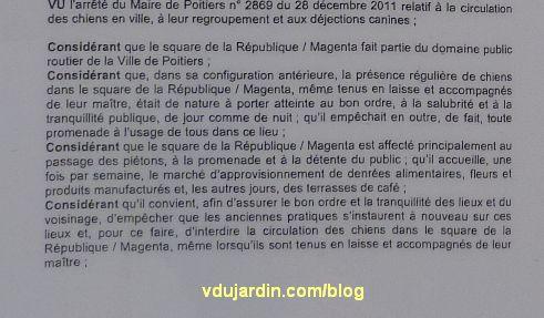 Poitiers, novembre 2012, arrêté anti-chiens du square