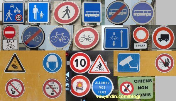 Panneaux routiers, piétons, vélos et autres usagers