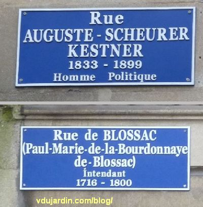 Poitiers, février 2013, plaques corrigées des rue de Blossac et Scheurer-Kestner