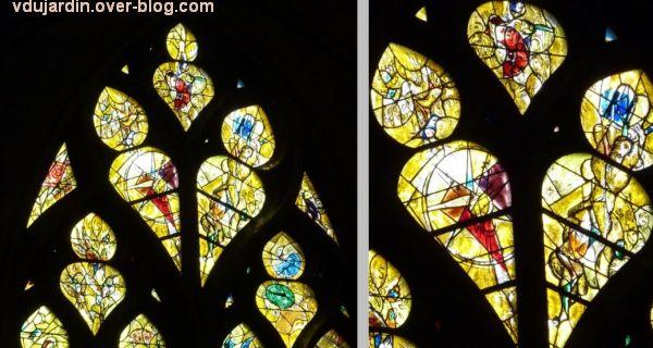 Cathédrale de Metz, vitrail de Marc Chagall, le Paradis terrestre, 3, deux détails de la partie supérieure
