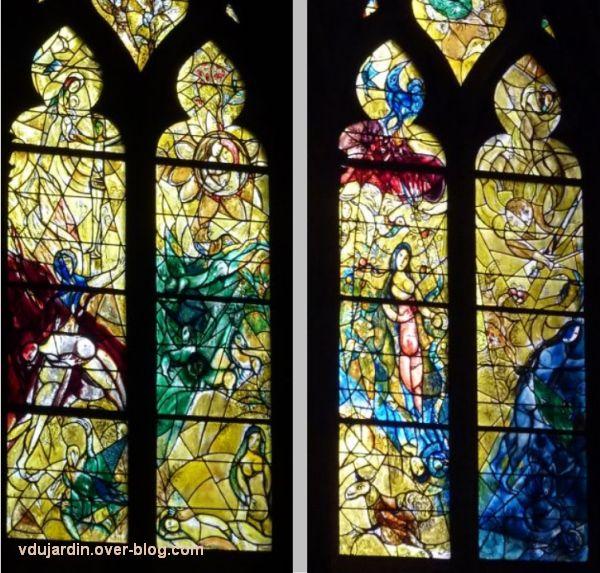Cathédrale de Metz, vitrail de Marc Chagall, le Paradis terrestre, 4, les quatre vitres centrales