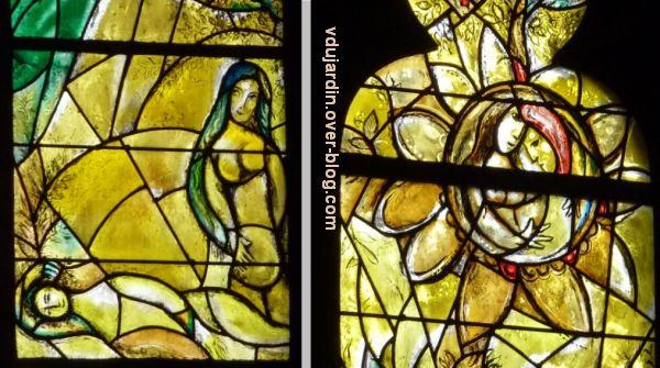 Cathédrale de Metz, vitrail de Marc Chagall, le Paradis terrestre, 7, deux détails