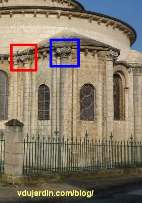 Poitiers, chevet de Saint-Hilaire, localisation des inscriptions