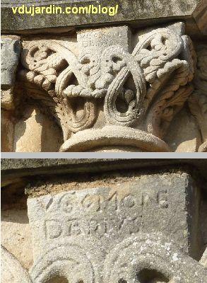 Poitiers, chevet de Saint-Hilaire, chapiteau avec inscription UGO MONEDARIUS