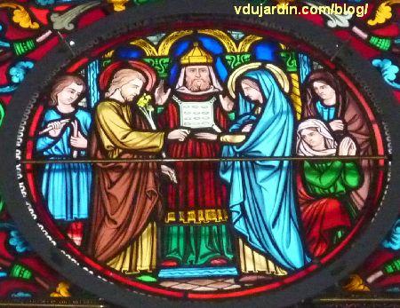 Poitiers, vitrail de l'église Saint-Hilaire, histoire de Joseph, mariage de Joseph