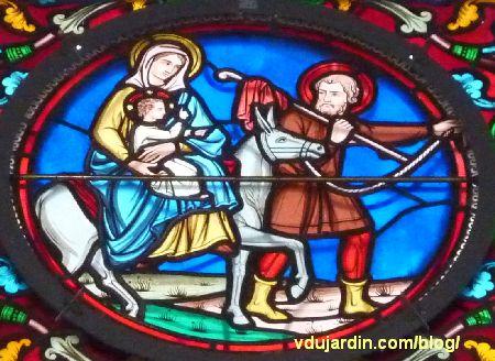 Poitiers, vitrail de l'église Saint-Hilaire, histoire de Joseph, fuite en Egypte