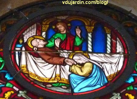 Poitiers, vitrail de l'église Saint-Hilaire, histoire de Joseph, mort de Joseph