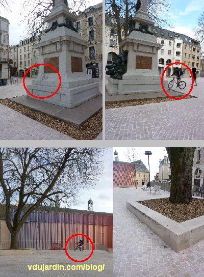 Poitiers, square de la République, avril 2013, effet des vélos sur le monument aux morts