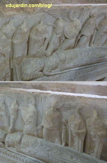 Poitiers, cénotaphe de saint Hilaire, deux détails du corps gisant