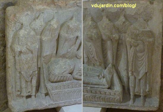 Poitiers, cénotaphe de saint Hilaire, les personnages situés près de la tête et aux pieds du mort_3