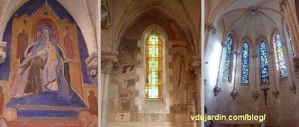 Poitiers, église Sainte-Thérèse, peintures de Marie Baranger et vitraux de Labouret