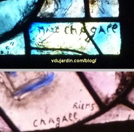 Cathédrale de Metz, vitraux de Marc Chagall, déambulatoire, baie gauche, deux signatures