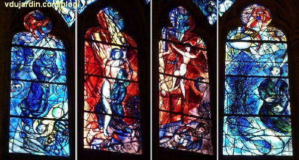 Cathédrale de Metz, vitraux de Marc Chagall, déambulatoire, baie gauche, les quatre grandes lancettes