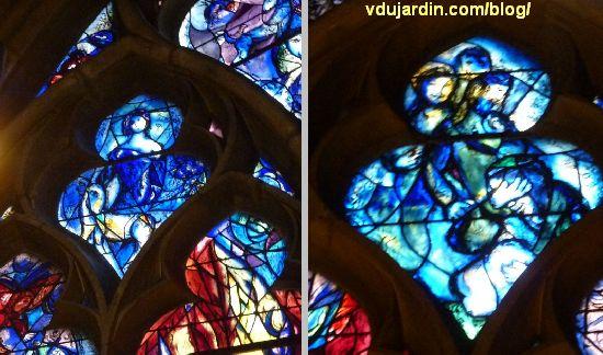 Cathédrale de Metz, vitraux de Marc Chagall, déambulatoire, baie gauche, motifs supérieurs
