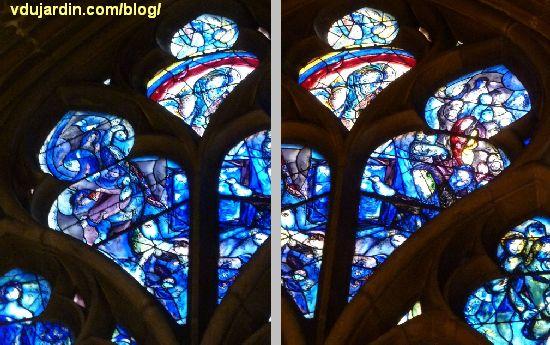 Cathédrale de Metz, vitraux de Marc Chagall, déambulatoire, baie gauche, détail du réseau supérieur