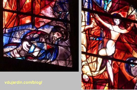 Cathédrale de Metz, vitraux de Marc Chagall, déambulatoire, baie gauche, détails du songe de Jacob