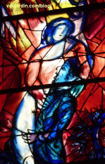 Cathédrale de Metz, vitraux de Marc Chagall, déambulatoire, baie gauche, lutte de Jacob et de l'Ange