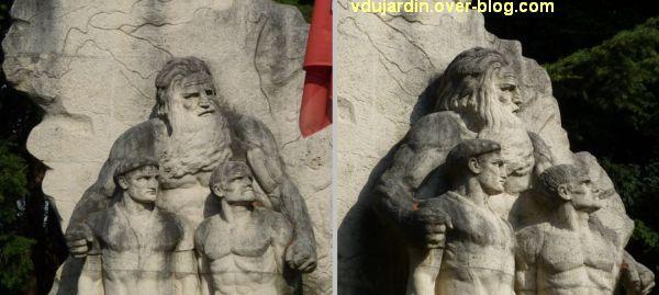 Lons-le-Saunier, monument aux résistants du Jura, 3, deux détails des têtes