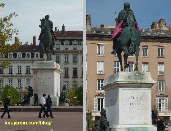 Statue équestre de Louis XIV, place Bellecour à Lyon, statue vue de face et de dos