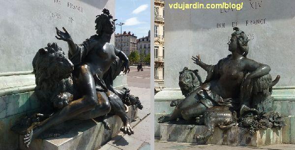 Statue équestre de Louis XIV, place Bellecour à Lyon, la Saône par Coustou