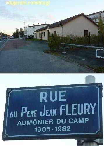 Poitiers, emplacement du camp d'internement de la route de Limoges et plaque de la rue du Père Jean Fleury